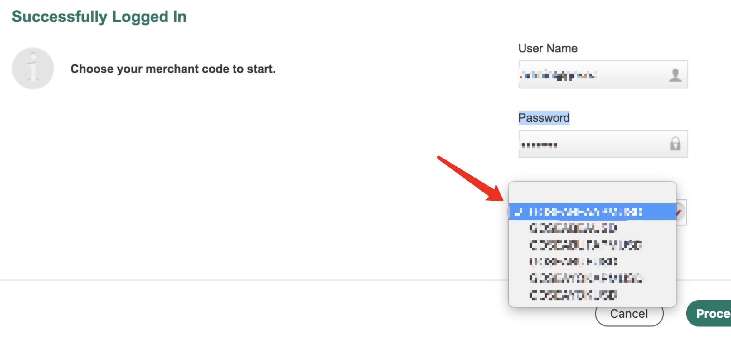 选择Merchant Code