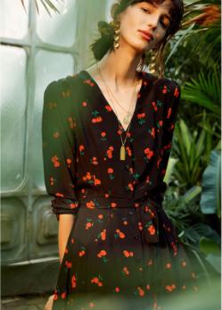 Cherry Black Silk Dress