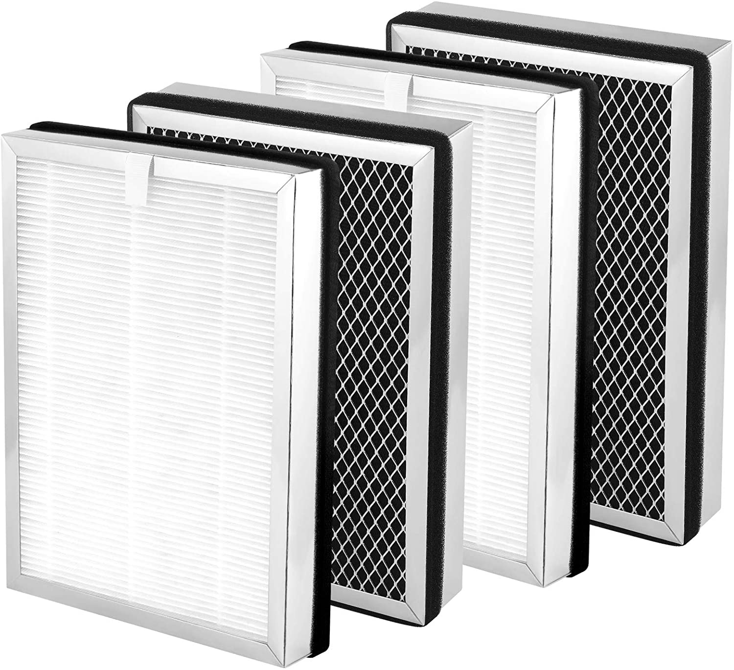A demonstration of four Afloia HEPA filters. At the front they look white like folded paper, the back side of HEPA filters is reticulated black.