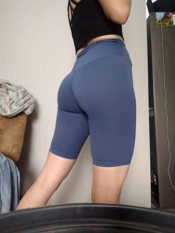 blue yoga shorts