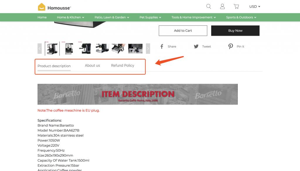独立站商品详情页中怎么在描述旁边增加一个新的模版